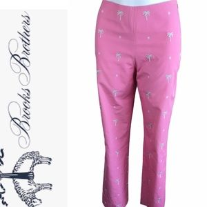 Brooks Brothers Palm Embroidered Pink Pants